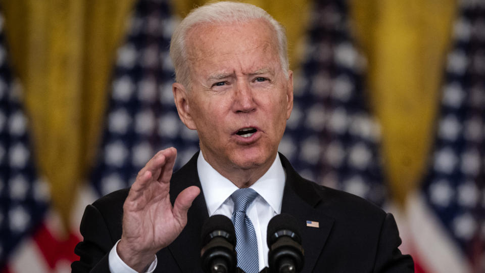 President Biden addresses the nation on the situation in Afghanistan in the East Room of the White House on Monday.