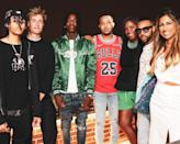 <p>Illinois House Speaker Pro Tem Jehan Gordon-Booth chats with Chicago-based artists including Polo G, G Herbo, Cole Benett and Vic Mensa at the Invest in US dinner at the Robey rooftop on July 29.</p>