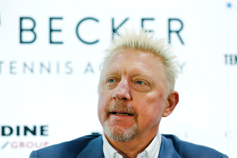 FILE PHOTO: Three-times Wimbledon champion Becker attends a news conference in Wiesbaden