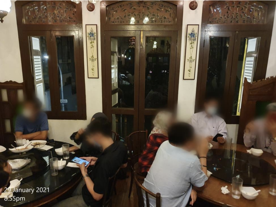 Bumbu at 44 Kandahar Street was found to have a group of 14 diners split across two tables at 8.55pm on 29 January 2021. (PHOTO: Urban Redevelopment Authority)
