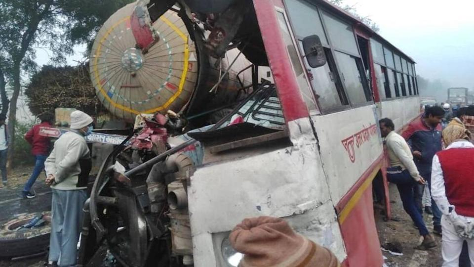 UP: Bus collides with gas tanker in Sambhal, eight killed