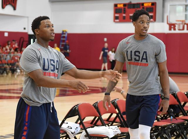Raptors guards Kyle Lowry (left) and DeMar DeRozan are also teammates on Team USA. (Getty Images)