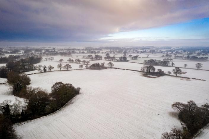 <p>The Cheshire countryside on the last day of 2020. The UK government has committed to protecting 30 per cent of land for nature by 2030</p>Getty Images