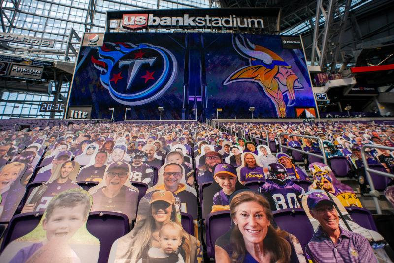 Cutouts of fans are afixed to seats before the game between the Tennessee Titans and Minnesota Vikings at U.S. Bank Stadium on September 27, 2020 in Minneapolis, Minnesota.