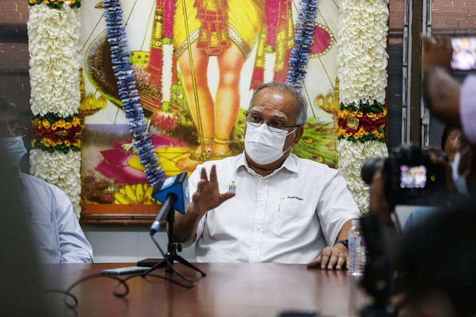 Penang Deputy Chief Minister P. Ramasamy speaks during a press conference at the Arulmigu Balathandayuthapani Temple in George Town January 26, 2021. — Picture by Sayuti Zainudin