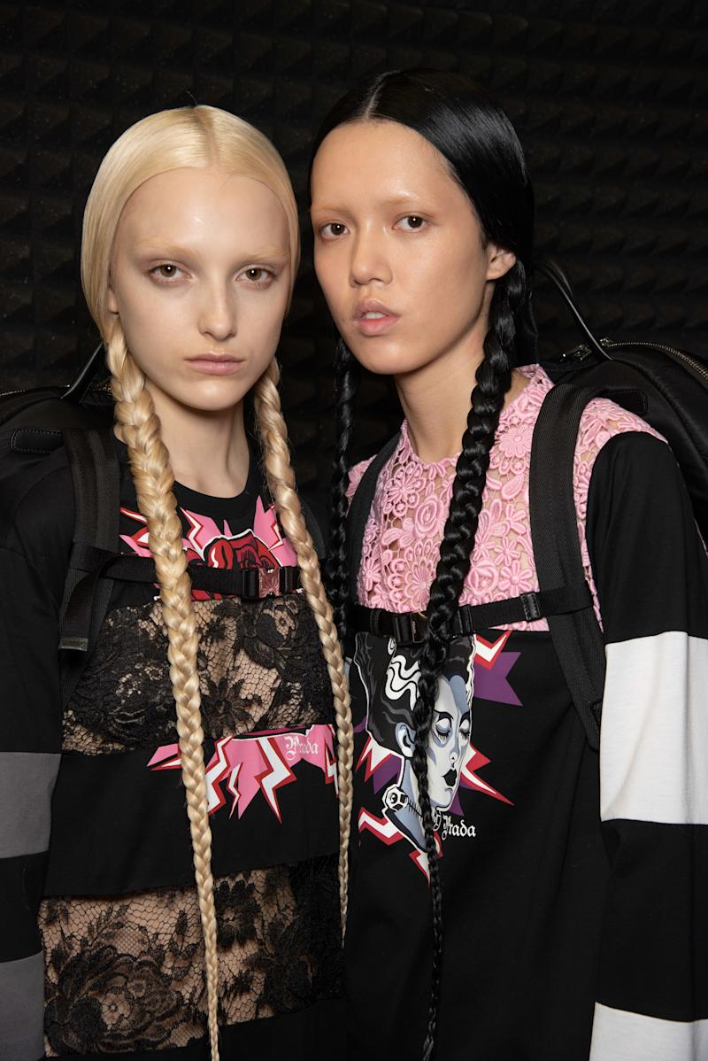 Models stormed the Fall runway with sets of just-bleached brows and hip-grazing pigtail braids, dyed shocking shades of baby blonde and deep black. Plus, a lucky nine received razor sharp 1920's inspired bobs—courtesy of Palau, no doubt.