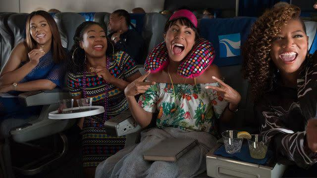 """Directed by Malcolm D. Lee &bull; Written by Kenya Barris and Tracy Oliver<br><br>Starring Jada Pinkett Smith, Regina Hall, Queen Latifah, Tiffany Haddish, Larenz Tate and Mike Colter<br><br><strong>What to expect:&nbsp;</strong> One month after """"Rough Night,"""" another ladies' outing arrives in the form of """"Girls Trip."""" But instead of a deadly bachelorette&nbsp;weekend in Miami, these friends are heading to New Orleans for the Essence Music Festival and some perilous French Quarter zip-lining.&nbsp;<br><br><i><a href=""""https://www.youtube.com/watch?v=RMvBJPgTcDA"""" rel=""""nofollow noopener"""" target=""""_blank"""" data-ylk=""""slk:Watch the trailer"""" class=""""link rapid-noclick-resp"""">Watch the trailer</a>.</i>"""