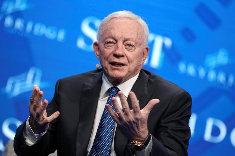 Jerry Jones, owner of the NFL's Dallas Cowboys, speaks during the SALT conference in Las Vegas