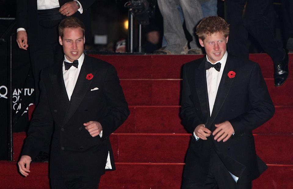 <p>Prince William and Prince Harry went together to the London <em>Quantum of Solace </em>premiere. </p>