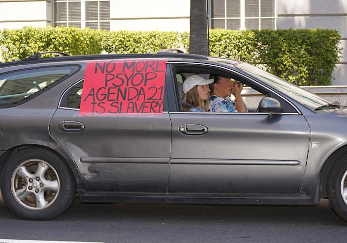 """Protesters at an anti-lockdown protest in Downtown Los Angeles, July 13, 2020. <span class=""""copyright"""">Jamie Lee Curtis Taete</span>"""