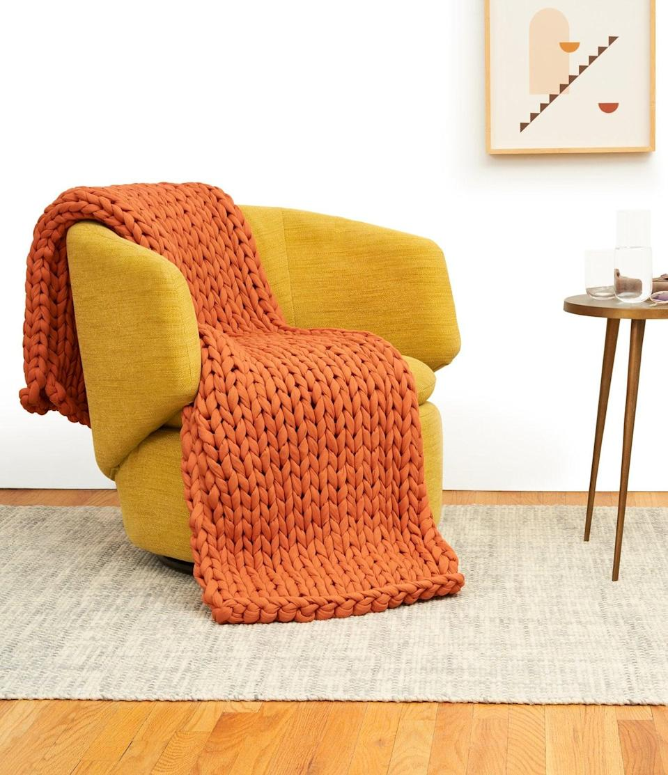 <p>This <span>Bearaby Cotton Napper</span> ($249) in burnt orange is perfect for fall.</p>