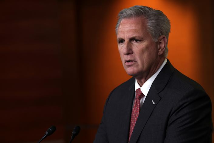 WASHINGTON, DC - JULY 01:  U.S. House Minority Leader Rep. Kevin McCarthy (R-CA) speaks during a weekly news conference at the U.S. Capitol July 01, 2021 in Washington, DC. McCarthy held a weekly news conference to answer questions from members of the press.  (Photo by Alex Wong/Getty Images)