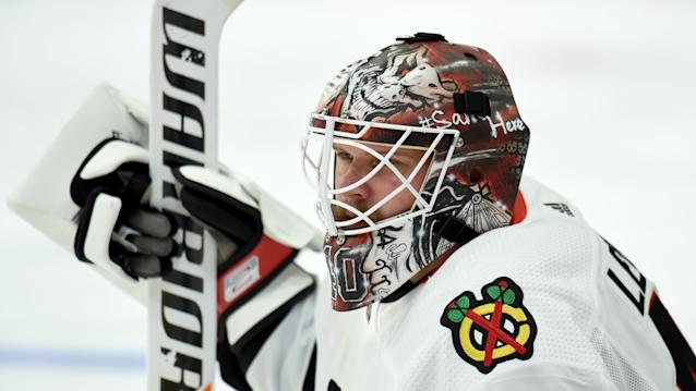 Chicago Blackhawks goaltender Robin Lehner is not a fan of the shootout. (Photo by Adam Pantozzi/NHLI via Getty Images)