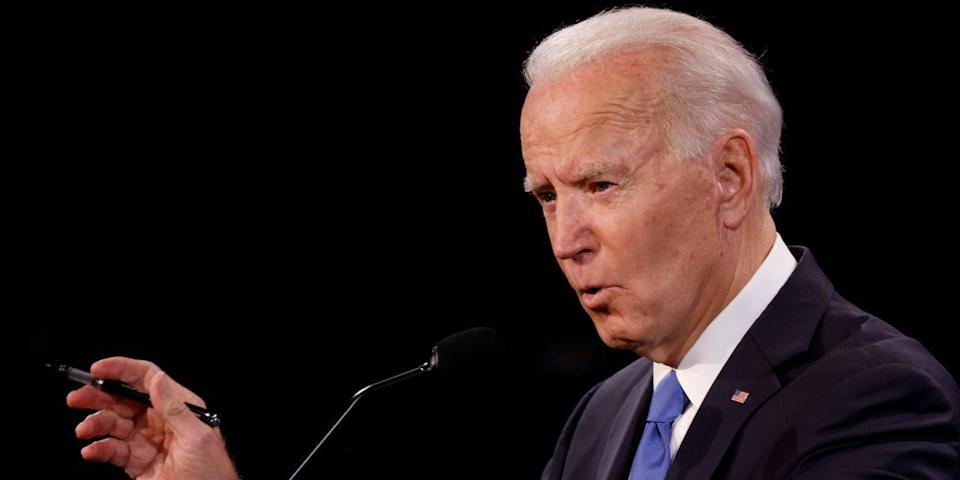 Democratic presidential nominee Joe Biden speaks during the final 2020 U.S. presidential campaign debate in the Curb Event Center at Belmont University in Nashville, Tennessee, U.S., October 22, 2020.