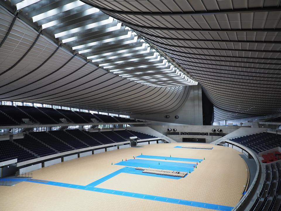 General view of the interior of Yoyogi National Stadium, the site for handball. The stadium was built for the 1964 Tokyo Olympics as the swimming venue.