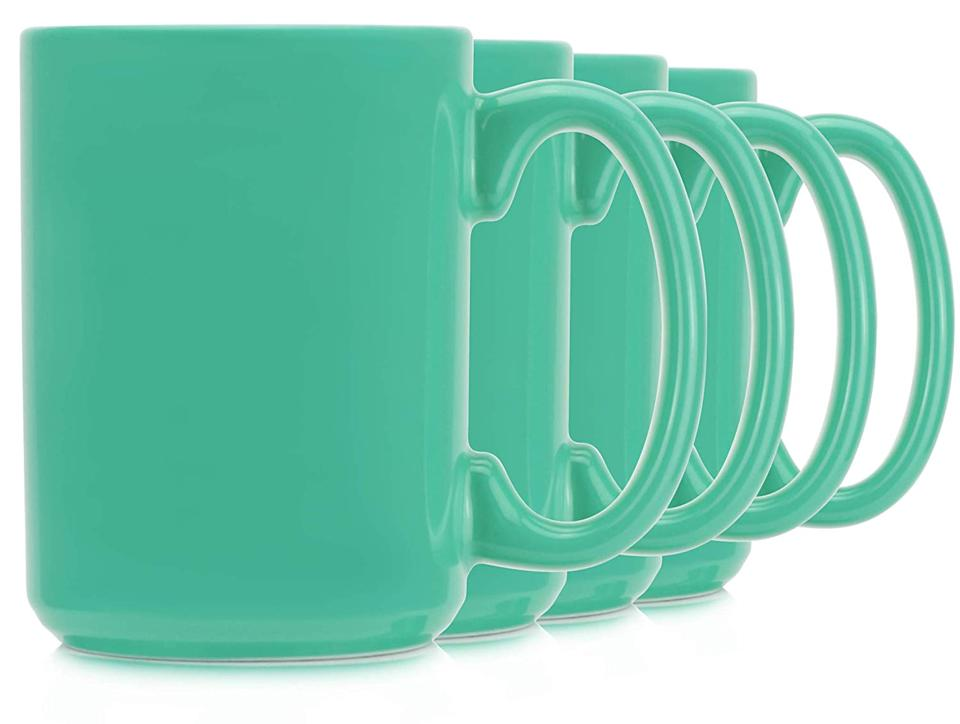 Coffee mugs with wide handles.
