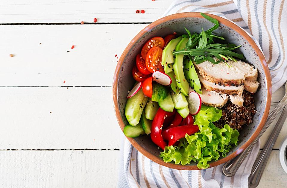 """<p>The <a href=""""https://www.myplate.gov/"""" class=""""link rapid-noclick-resp"""" rel=""""nofollow noopener"""" target=""""_blank"""" data-ylk=""""slk:USDA's MyPlate"""">USDA's MyPlate</a> recommends filling half your plate with fruits and vegetables, a quarter with whole grains, and a quarter with lean protein. This is known as <a href=""""https://www.popsugar.com/fitness/Easy-Portion-Control-Tips-45248881"""" class=""""link rapid-noclick-resp"""" rel=""""nofollow noopener"""" target=""""_blank"""" data-ylk=""""slk:the 50/25/25 rule"""">the 50/25/25 rule</a>, and it can not only help you portion your meals, but also help you plan your shopping list.</p>"""