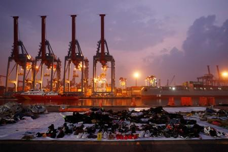 Recovered belongings believed to be from the crashed Lion Air flight JT610 are laid out at Tanjung Priok port in Jakarta