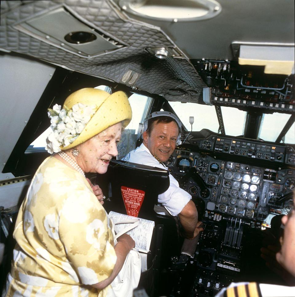 "<p>The Queen Mother apparently always expressed an interest in flying on a Concorde jet. As a <a href=""https://www.rct.uk/collection/2001288/queen-mother-flies-on-concorde"" rel=""nofollow noopener"" target=""_blank"" data-ylk=""slk:birthday gift from British Airways"" class=""link rapid-noclick-resp"">birthday gift from British Airways</a>, the monarch was offered a seat in the cockpit in 1985. </p>"