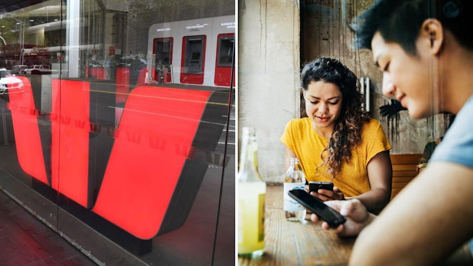 Westpac logo in store, woman and man on phones in cafe.
