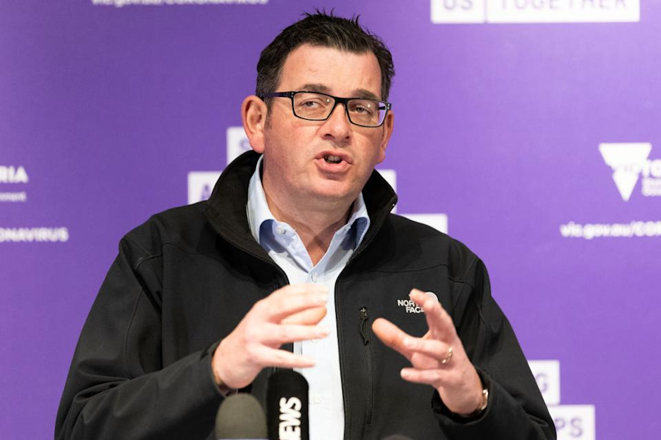 Premier of Victoria Daniel Andrews speaks during a press conference.