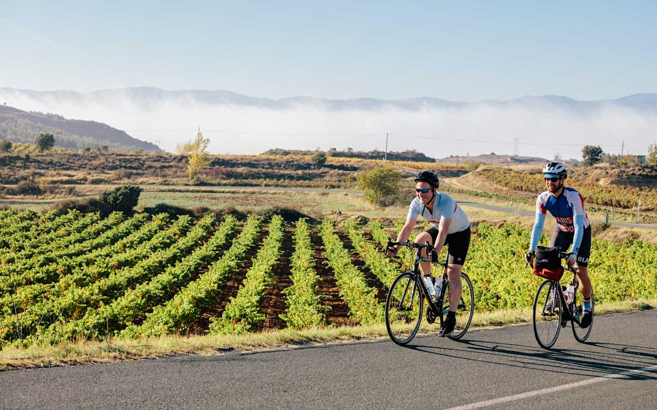 "<p><a rel=""nofollow"" href=""http://www.butterfield.com/trip/rioja-great-adventure/?utm_source=TravelLeisure&utm_medium=Webpage&utm_campaign=TravelLeisureWebpage"">On this picturesque two-wheeled trip</a> of Spain's gorgeous wine region, which begins in San Sebastian, you will bike parts of the Camino de Santiago in Basque Country, see mind-bending architecture in Elciego, and taste delicious local tapas and Michelin-starred cuisine. <a rel=""nofollow"" href=""http://www.travelandleisure.com/trip-ideas/bike-tours/rioja-spain-bike-trip"">This entire region</a> is home to beautiful boutique hotels and inns — two of which, Hotel Viura and Marqués de Riscal, will be your home base after days spent on the road. <em>Five days from $5,995 per person.</em></p>"