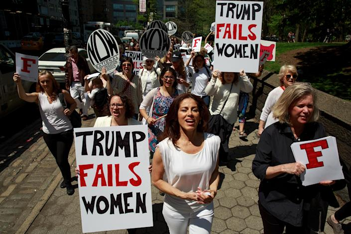 Activists in New York City protest President Trump's policies
