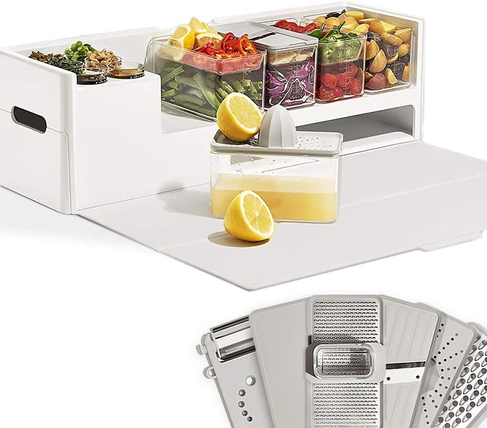 <p>If you they love to cook, they can meal prep like a pro with this <span>Prepdeck Recipe Preparation Kit and Storage</span> ($110). It's got everything they need to prep meals in one station. The space-saving design includes a large cutting board, 15 meal prep containers of varying sizes, a removable trash bin, and a storage section for tools. It even comes with multiuse prepping tools like a grater, a zester, a juicer, a slicer, a garlic grater, vegetable peeler, a bottle opener, and more.</p>