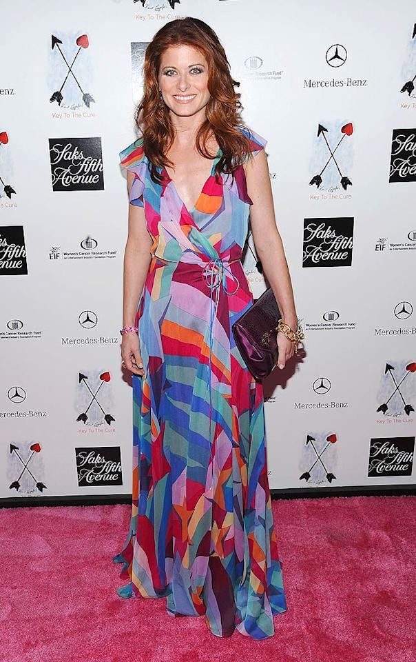 """Debra Messing donned this delicious Diane von Furstenberg creation at the Saks 5th Avenue 10th Annual Key to the Cure Charity Shopping Weekend in New York City. Dimitrios Kambouris/<a href=""""http://www.wireimage.com"""" target=""""new"""">WireImage.com</a> - October 14, 2008"""