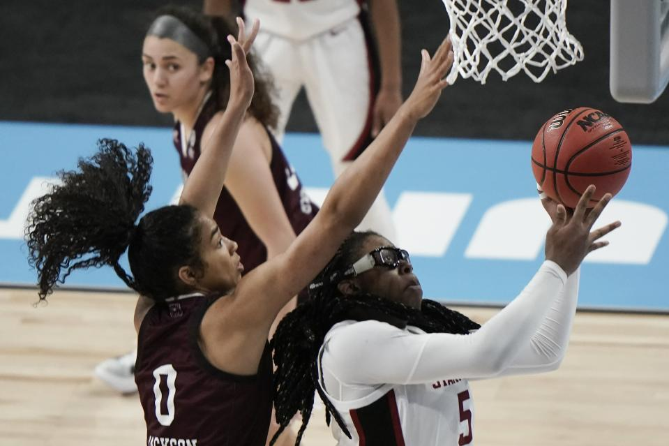 Stanford's Francesca Belibi shoots past Missouri State's Abi Jackson during the first half of an NCAA college basketball game in the Sweet 16 round of the Women's NCAA tournament Sunday, March 28, 2021, at the Alamodome in San Antonio. (AP Photo/Morry Gash)