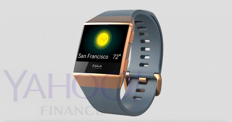 A photo of Fitbit's upcoming smartwatch, which was leaked to Yahoo Finance.