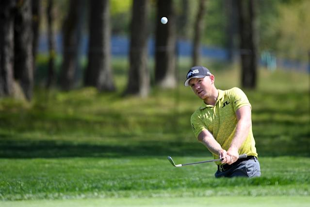 Matt Wallace of England plays his third shot on the ninth hole during the first round of the 2019 PGA Championship at the Bethpage Black course on May 16, 2019 in Farmingdale, New York. (Photo by Ross Kinnaird/Getty Images)