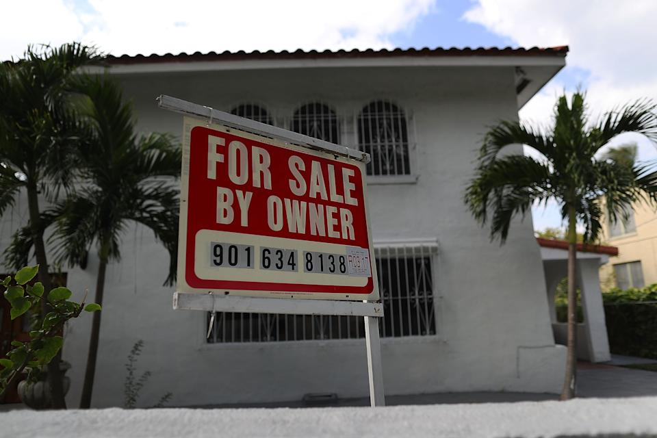 A for sale sign is posted in front of a home as interest rates for home loans climbed to nearly 4% in the wake of the election of Donald Trump to be the U.S. president. (Photo: Joe Raedle/Getty Images)