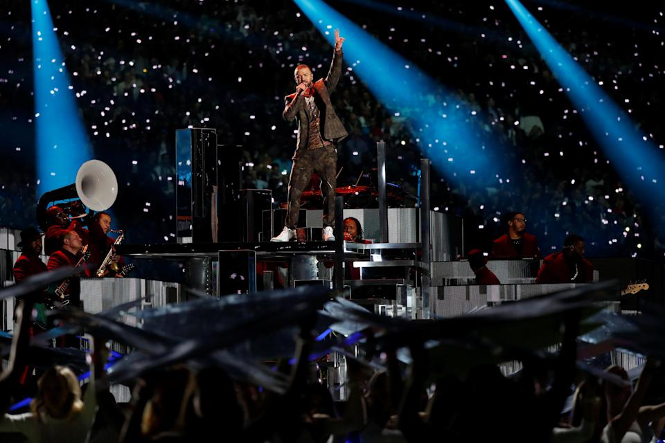 Justin Timberlake performs during the Super Bowl LII halftime show. (Reuters)