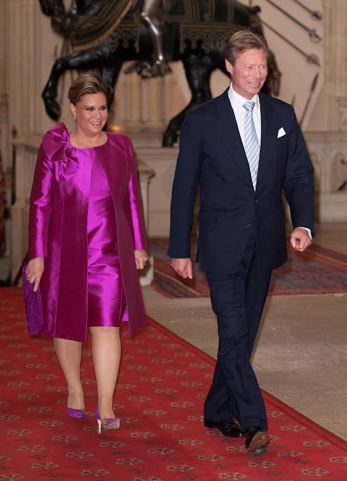 WINDSOR, ENGLAND - MAY 18: Henri, Grand Duke of Luxembourg and Maria Teresa, Grand Duchess of Luxembourg, arrive at a lunch for Sovereign Monarch's held in honour of Queen Elizabeth II's Diamond Jubilee, at Windsor Castle, on May 18, 2012 in Windsor, England. (Photo by Dominic Lipinski - WPA Pool/Getty Images)