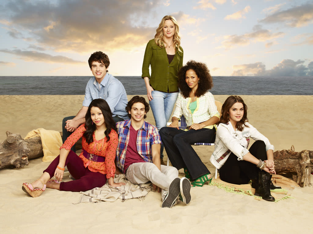 "ABC Family's ""The Fosters"" stars Cierra Ramirez as Mariana, David Lambert as Brandon, Jake T. Austin as Jesus, Teri Polo as Stef, Sherri Saum as Lena and Maia Mitchell as Callie."