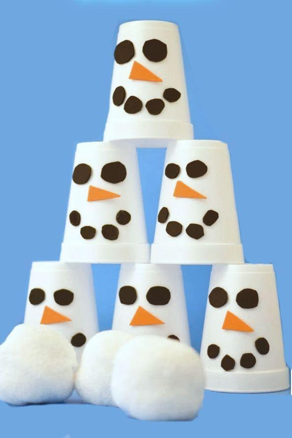 """<p>This quieter, softer tabletop version of snowman bowling will keep the kids occupied while the grown-ups get dinner ready. Decorate white Styrofoam cups with adorable felt <a href=""""https://www.goodhousekeeping.com/holidays/christmas-ideas/a42045/snowman-dollar-store-candles/"""" rel=""""nofollow noopener"""" target=""""_blank"""" data-ylk=""""slk:snowmen faces"""" class=""""link rapid-noclick-resp"""">snowmen faces</a>, pile them into a pyramid, and toss a pom-pom """"snowball"""" at them to see who can get a strike. </p><p><em><a href=""""http://www.growingajeweledrose.com/2013/12/snowman-slam-game-for-kids.html"""" rel=""""nofollow noopener"""" target=""""_blank"""" data-ylk=""""slk:Get the tutorial at Growing a Jeweled Rose »"""" class=""""link rapid-noclick-resp"""">Get the tutorial at Growing a Jeweled Rose »</a></em><br></p>"""