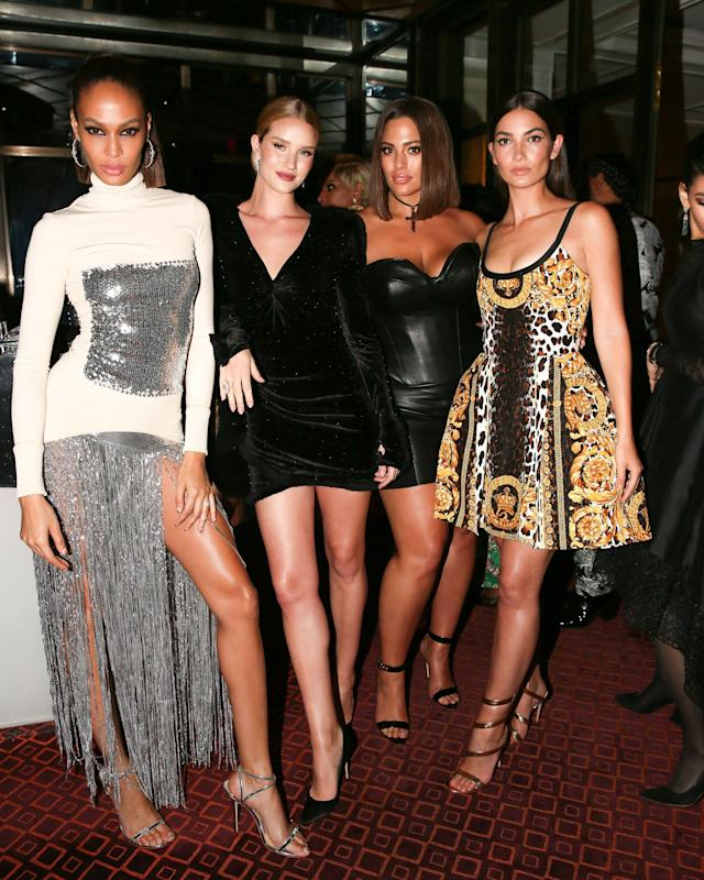 <p>Joan Smalls, Rosie Huntington-Whiteley, Ashley Graham, Lily Aldridge<br> Versace Afterparty, Met Gala, New York, USA – 07 May 2018<br> (Photo: Shutterstock) </p>