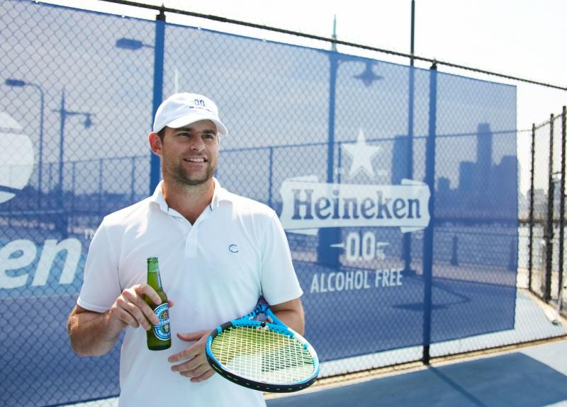 2003 U.S. Open men's champion Andy Roddick in a Heineken 0.0 promo shot (courtesy Heineken)