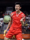 <p>Chen Long of China celebrates after defeating Chong Wei Lee of Malaysia to win the Men's Singles Badminton Gold Medal match at the 2016 Summer Olympics in Rio de Janeiro, Brazil, on Aug. 17, 2016. (AP Photo/Kin Cheung) </p>