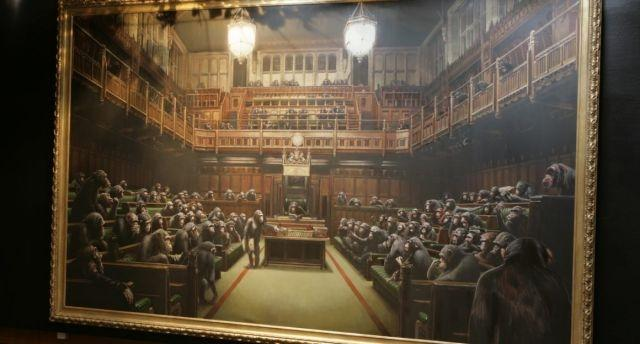 Alterations to Banksy's 'Devolved Parliament' spotted ahead of much-awaited auction at Sotheby's