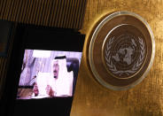 King of Saudi Arabia King Salman Bin Abdulaziz Al-Saud delivers a pre-recorded message to the 76th Session of the U.N. General Assembly at United Nations headquarters in New York, on Wednesday, Sept. 22, 2021. (John Angelillo/Pool Photo via AP)