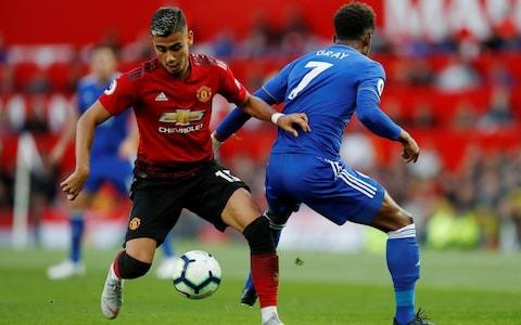 Soccer Football - Premier League - Manchester United v Leicester City - Old Trafford, Manchester, Britain - August 10, 2018 Manchester United's Andreas Pereira in action with Leicester City's Demarai Gray - Credit: Action Images