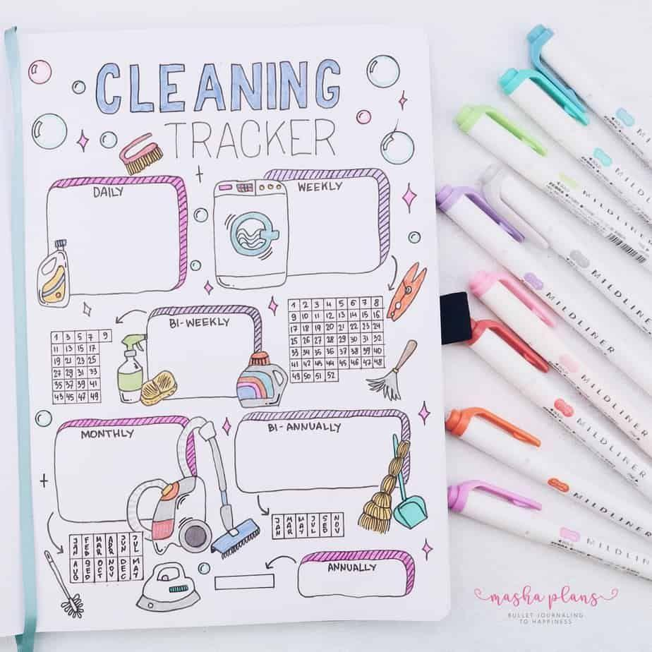 """<p>Think of this <a href=""""https://mashaplans.com/bullet-journal-ideas-spring-cleaning/"""" rel=""""nofollow noopener"""" target=""""_blank"""" data-ylk=""""slk:cleaning page"""" class=""""link rapid-noclick-resp"""">cleaning page</a> from Masha Plans as your motivation to actually do those hated chores on a regular basis. Since you can break it up into segments for daily, weekly, and other <a href=""""https://www.goodhousekeeping.com/home/cleaning/g3221/things-you-should-clean-every-day/"""" rel=""""nofollow noopener"""" target=""""_blank"""" data-ylk=""""slk:regularly occurring chores"""" class=""""link rapid-noclick-resp"""">regularly occurring chores</a>, it helps keep you accountable for even those infrequent tasks like cleaning the oven or dusting light fixtures. </p>"""