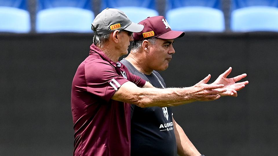 Queensland coaches Wayne Bennett and Mal Meninga are seen here at Maroons training.