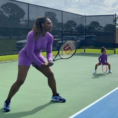 """<p><a href=""""https://www.elle.com/uk/life-and-culture/a32219617/serena-williams-meghan-markle-interview-naomi-campbell/"""" rel=""""nofollow noopener"""" target=""""_blank"""" data-ylk=""""slk:Serena Williams"""" class=""""link rapid-noclick-resp"""">Serena Williams</a> has recruited her daughter Olympia to help her prepare for the US Open, scheduled to take place in August.</p><p>On Thursday, the tennis champion shared a series of photos and a video of herself and her toddler playing tennis together in matching purple Nike bodysuits.</p><p>'I just love her and you too much! If this gets any cuter I will NOT LIVE!' Williams sister, Venus, commented on the post.</p><p>Next month, she will be competing to win her 24th Grand Slam title. </p><p> Williams has been self-isolating with her daughter and husband Alexis Ohanian at their Florida home for several months. </p><p><a href=""""https://www.instagram.com/p/CCJ9uypnKvo/"""" rel=""""nofollow noopener"""" target=""""_blank"""" data-ylk=""""slk:See the original post on Instagram"""" class=""""link rapid-noclick-resp"""">See the original post on Instagram</a></p>"""