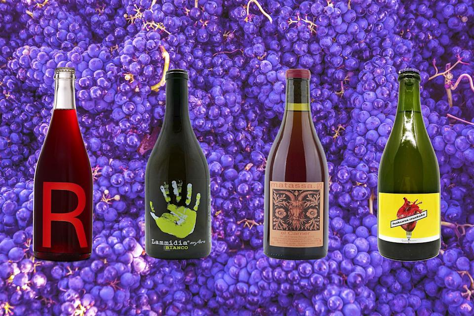 """<p class=""""body-text"""">The natural wine boom is not ending any time soon, with last year's enforced isolation meaning that the bottles of funky orange and fizzing pét-nat <a href=""""https://www.esquire.com/uk/food-drink/bars/a32224742/natural-wine-zoom-tastings-instagram/"""" rel=""""nofollow noopener"""" target=""""_blank"""" data-ylk=""""slk:were all over your Instagram feed"""" class=""""link rapid-noclick-resp"""">were all over your Instagram feed</a>. Just like the clean eating vogue has seen us shun foods full of additives and ingredients you can't pronounce, the natural wine movement is all about virtuoso quaffing of fermented grape juices which are made with as little meddling as possible.</p><p> It can feel like rewiring your palette if you're not used to it, but for all of its jargon the world of natty wine isn't as intimidating or impenetrable as it might appear.</p><h3 class=""""body-h3"""">What is natural wine?</h3><p>""""<a href=""""https://www.esquire.com/uk/food-drink/restaurants/a33083892/natural-wine-to-buy-chilled-red-pet-nat-orange-wine/"""" rel=""""nofollow noopener"""" target=""""_blank"""" data-ylk=""""slk:The way that we sum it up is that it's wine made without industrial agriculture"""" class=""""link rapid-noclick-resp"""">The way that we sum it up is that it's wine made without industrial agriculture</a> and without any extreme uses of pesticides or chemicals in the vineyard,"""" says Brodie Meah, owner of the restaurant, wine shop and bar Top Cuvée, who rebranded as Shop Cuvée at the start of lockdown in order to offer takeaway and delivery on bottles. """"It's wine made with as little manipulation or intervention in the winery as possible so in a natural way.""""</p><p>A lot of natural wines are juicy, light, slightly fizzy grapes which are best enjoyed cold. They're also easy to drink over longer periods of time, or 'smashable' as the natural wine world calls these kind of drinks. """"A big word you hear in natural wine is juice, or 'glou glou' [French for glug glug] when talking about wines that are made in a way th"""