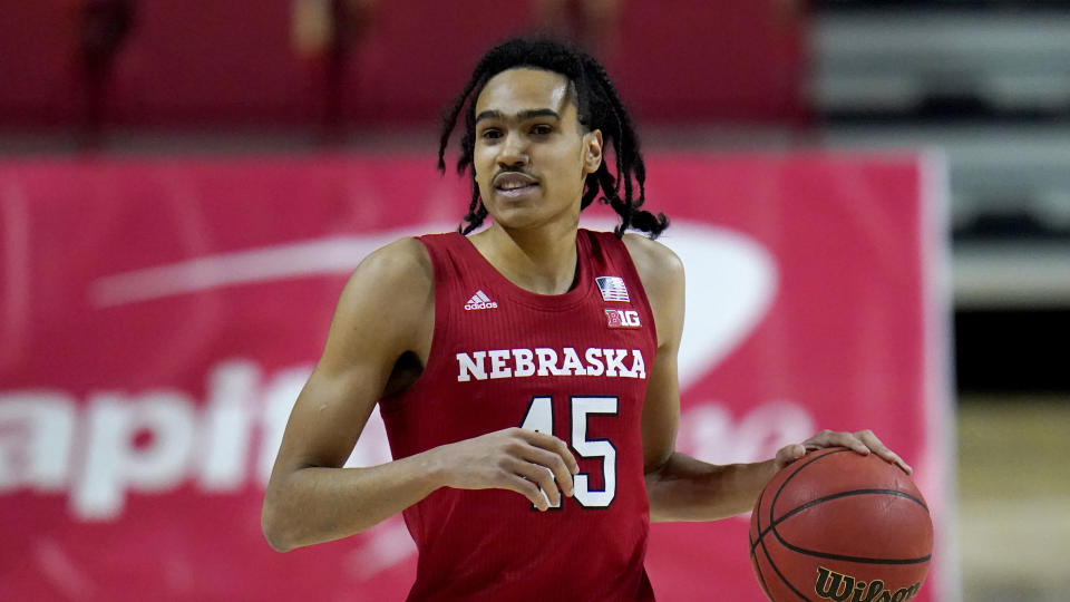 Nebraska guard Dalano Banton dribbles up court against Maryland during the first half of an NCAA college basketball game, Wednesday, Feb. 17, 2021, in College Park, Md. (AP Photo/Julio Cortez)