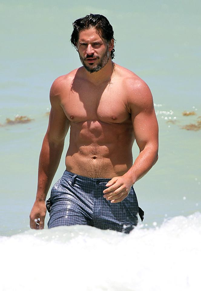 """True Blood"" hunk Joe Manganiello flashed his washboard abs in Miami. Fans can see more of his fab physique in the upcoming stripper flick, ""Magic Mike."""