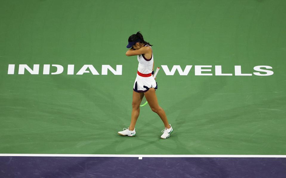 Emma Raducanu crashed back down to earth in Indian Wells - GETTY IMAGES